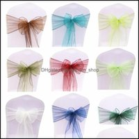 Ers Textiles & Garden100Pcs Wedding Organza Fabric Ribbon Sashes For Banquet Event Birthday Party Decoration Home Textile Chair Er1 Drop Del