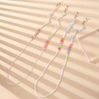 Sunglasses Frames Unisex Letter Eyeglass Lanyard Heart Mask Cord Holder Crystal Glasses Chain Face Necklace Acrylic Beaded