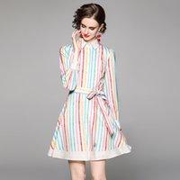 Última camisa de rayas de la pista Mini vestido Mujeres 2021 Diseñador de manga larga Oficina de la cinta delgada Bow A-Line Vestidos Verano Otoño Dulce Partido Casual Casual Rebaños