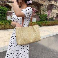 Cross Body Homemari Top-handle Bags Women 2021 Summer Straw Large Tote Bag Beach Casual Shoulder Handbag Handmade Basket Shopping