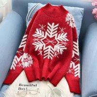 Frauenpullover Sifafos Rote Weihnachtsschneeflocke Weihnachten Muster gezeichnet Halb-Rollkragen-gestrickte Pullover Frauen Langarm Winter Warmer Pullover