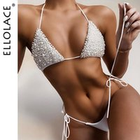 Ellolace Sexy Pearl Bikini Set Micro 2021 Fashion Women's Two-Piece Swimsuit Bathing Suit Women Separate Swimsuits Swimwear