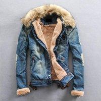 Men's Jackets Kalenmos Men Thicker Warm Denim Coats Casual Jean Winter Fashion Jena