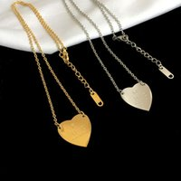 Designer fashion style ladies lettering 3-color 18K gold-plated necklace with single heart pendant