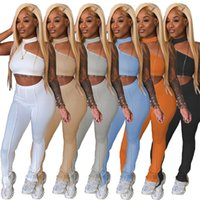 Women Tracksuits 2 piece set summer fall clothes sexy club t-shirt pants sportswear pullover halter crop top leggings outfits vest sleeveless trouser bodysuit 01749