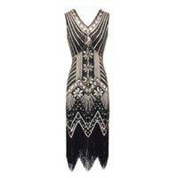 Robes de fête S-4XL Plus Femme Taille de la mode Flapper Robe Vintage Great Gatsby Charleston Free Sequins
