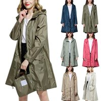 Women's Trench Coats Coat The Female Raincoat In Long Section Of Small Jacquard Waist Hooded Windbreaker Outdoor Poncho 8.15
