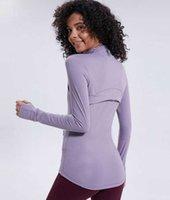 L-78 가을 겨울 새로운 지퍼 자켓 빠른 건조 복장 요가 옷 긴 소매 엄지 손가락 구멍 훈련 러닝 재킷 여성 piglulu 슬림