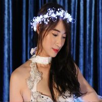 KS56 Party ballroom dance led costumes white luminous led headdress bellydance headwear Glowing garland bridal wear rave dress