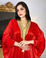 Ethnic Clothing Dubai Arabic Muslim Abaya Dress For Women Fall 2021 Red Moroccan Kaftan Elegant Wedding Hooded Robe Turkish Islamic Jalabiya