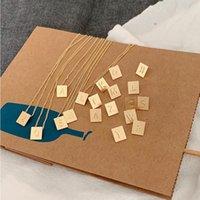 Retro geometrischer quadratischer Brief Anhänger Halskette Goldene Farbe Metall für Frauen Mädchen Schmuckketten