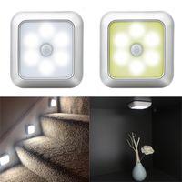6 LED Sensor de movimiento cuadrado Luces de noche PIR INICIALIZADORA DE PIR BAJO CON POWER POWERED LIGHT CERRADOR LÁMPARTAS Lámpara de cocina Dormitorio Dormitorio Decoración Lámparas