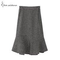 التنانير Zoe Saldana 2021 الخريف الشتاء الرجعية houndstooth تنورة النساء الركبة طول الصوف الأزياء عالية الخصر الكشكشة