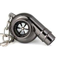 Keychains Spinning Turbine Key Chain Keyring Mini Turbo Turbocharger Keychain With Light Keyfob Car Interisor Accessories