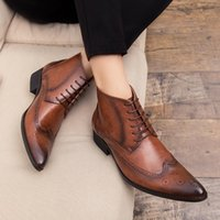 Boots Men Ankle Spring Autumn Casual Lace Up Shoes Outdoor Fashion Booties Oxfords Leather