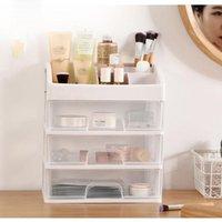 Storage Boxes & Bins Three Layers Makeup Organizer Drawers Plastic Cosmetic Box Jewelry Container Make Up Case Brush Holder Organizers
