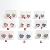 Nueva York Stylist Ear Stud Mujer Pave Pendientes Moda Forma de corazón Joyerías 9 Estilos Pendiente Con Cartones Dorado Plata Color Rosa
