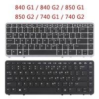EliteBook 840 G1 G2 850 740 노트북 키보드 실버 백라이트 없음 포인터 교체 키보드 없음