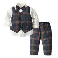 Autunno Baby Boys Abbigliamento Set Toddler Kids Bavero Camicia a maniche lunghe + Plaid Gilet Outwear + Pantaloni reticoli 3 PZ 3PCS Bambini Performance Party Vestiti A7210