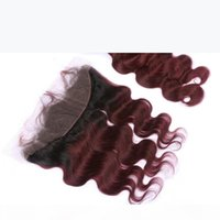 Burgundy Ombre Virgin Peruanisches menschliches Haar 3bundles mit Frontal Body Wave 1b 99j Wine Red Ombre Lace Frontal Coverure 13x4 mit Gewebe