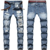4 Styles Mens Jeans Slim-fit Straight-leg Pants Distressed Ripped Denim for Men Trousers Plus Size