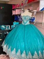 Fashion Sliver Embroidered Lace Aqua Organza Quinceanera Dresses Ball Gown Charro Mexican Sweetheart Vestido de Sweet 15 Prom Eveening Dress