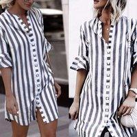 Blusas Feminina S-5XL Shirts Shirt Autumn Summer Blouse 2021 Casual Lady Button Lapel 3 4 Sleeve Stripes Tops Female Women's Blouses &
