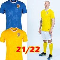 21/22 Romênia Futebol Jerseys Home Amarelo Away Biue 2021 2022 Alexandru Cicaldau Ianis Hagi Dennis Homens Marin Futebol Camisas Maillots Camiseta de Futbol Tailândia