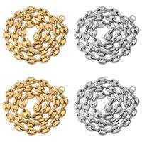 Erkek Hip Hop Düğme Zincir Kolye Kahve Çekirdeği Zincir Takı Erkekler Kadınlar Için 8mm 18 inç 22 inç Altın Bağlantı Bildirimi Kolye Hediye 38 N2