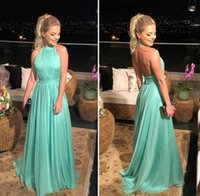 A-Line Pleated Long Halter Prom Dresses Backless Floor Length Tulle Robe De Soiree Formal Evening Party Gowns