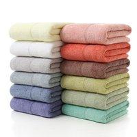 Toalha 70x140cm banho multicolorido puro toalhas de algodão banheiro de secagem rápida espessa cor sólida cor macia diar diária home el