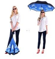 Parapluie inversée pliante 52 styles double couche inversée longue poignée à longueur de pluie voiture de pluie parapluies C Poignée Umbrellas BWD9206