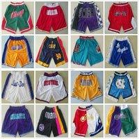 Tüm Takım Sadece Don Basketbol Şort En Kaliteli Retro Kalça Pop Sadece Don Kısa Pantolon Dikişli Cep Fermuarlı Sweatpant Toptan Erkek Boyutu S-XXL