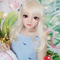 Máscaras de fiesta (jun-05) Mujer dulce chica resina media cabeza kigurumi bjd ojos crossdress cosplay japonés anime papel lolita máscara con y peluca