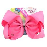 8-дюймовый Jojo Siwa Hair Bow сплошной цвет с зажимами PaperCard Metal Logo Girls Giant Rainbow Chinestone Аксессуары для волос Painpin Fairband 731 V2
