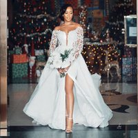 2021 Luxury African Mermaid Wedding Dress Bridal Gowns With Detachable Train Off The Shoulder Long Sleeves Lace Appliqued Crystal Pearl Beading vestido de noiva