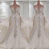 2021 Кристалл Роскошные Русалка Свадебные платья Свадебные платья с избыточными Платьями с избыточными Плечом Кружева Рухренные Берфы Rhinhone Dubai Vestidos de Novia Custom Plus Размер