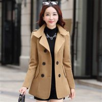 Women's Wool & Blends Autumn Winter Female Korean Slim Blazer Double-breasted Cotton Coat Women Solid Button Jacket Suit