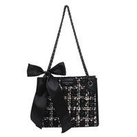 Große Kapazität Shopper sac reine farbe tweed umhängetasche luxus pelz plaid ribbon bogen flap handtaschen designer frauen gewebt taschen