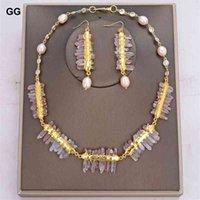 Guaiguai Ювелирные Изделия натуральный LepidoCite Кварц-Кварцкий Кульфулированный розовый рисовый жемчужный ожерелье серьги для женщин