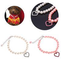 Est Pet Collar Pearl Necklace Dog Puppy Cat Bowknot Custom Adjustable Identification Drop Collars & Leads