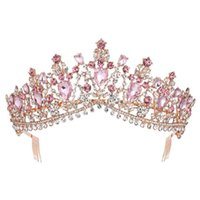 Baroque Rose Gold Pink Crystal Bridal Tiara Crown With Comb Pageant Prom Veil Headband Wedding Hair Accessories 211006