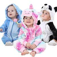 Dessin animé mignon Flanelle Baby Baby Rompes Point Point Panda Panda Pajamas Coton Boy Girls Jumpsuit Kigurumi Outfit 210729