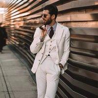 Conjunto de solapa con muescas Corduroy 3 piezas Set Slim Fit ChaquetaVestpants Trajes de boda para hombre Hombre Hecho a medida Blazer blanco