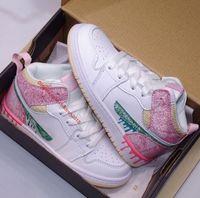 1 1 S MID Çocuklar Basketbol Ayakkabıları Jumpmans Boya Damla Dondurma Kenar Glow Bred Toe Beyaz Gölge Erkek Kız Çocuk Sneakers Boyutu 27-35