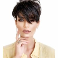 Human Hair None Lace Front Wig Bob Short Free Part style Brazilian Straight Silky Black Wigs