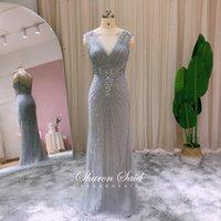 Party Dresses Silver Beaded Mermaid Prom Long 2021 Luxury Dubai Formal Evening Gowns Arabic Women Burgundy Wedding Dress Elegant