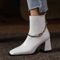 Metal Chains Decoration Square Toe 6cm Thick High Heels Motorcycle Brand Hip Hop Style Side Zip Women Ankle Boots Gn03 Muyisexi