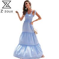 Casual Dresses Z-ZOUX Women Dress Plaid Lace Up Spaghetti Strap Elastic High Waist Sexy Beach Plus Size Summer Maxi 2021