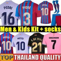 20 21 FC BARCELONA camisetas de futebol KUN AGUERO barca camiseta de futbol ANSU FATI 2020 Messi GRIEZMANN DE JONG Conjunto de camisa de futebol Homens Mulheres Kids Kit uniformes